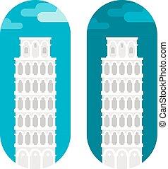 Flat design Pisa tower
