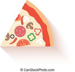 Flat design pizza slice icons isolated on white. Vector