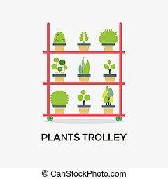 Flat Design Plants Trolley Vector