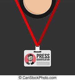 Flat Design Press Identification Vector Illustration
