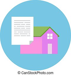 Flat Design Realty Icon Home with Document. Vector