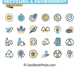 Flat design recycling icons