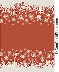 Flat design red Christmas vector background with snowflakes.
