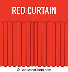 Flat Design Red Curtain Vector.