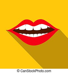 Flat Design Red Mouth with White Teeth on Yellow Background -  Vector