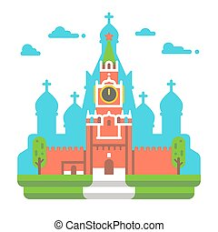 Flat design Red square clock tower