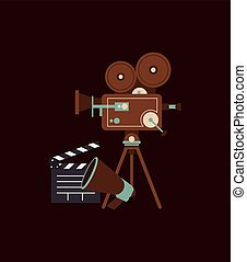 retro film projector and cinema related icons image