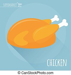 Roasted chicken vector icon