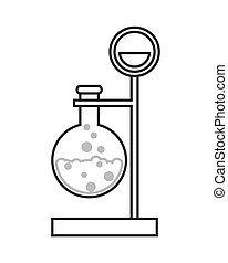 round bottom flask and lab support icon