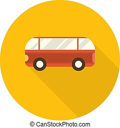 Flat Design Round Icon with Bus. Vector Illustration.