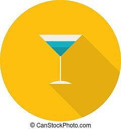 Flat Design Round Icon with High Cocktail Glass.