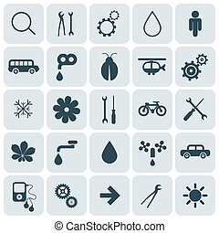 Flat Design Rounded Square Vector Icons Set