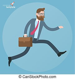Flat design running businessman.