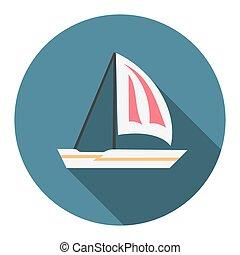 Flat design sailing boat icon