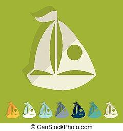 Flat design. sailing boats