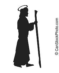 flat design saint joseph silhouette icon vector illustration