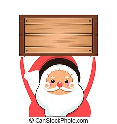 santa claus holding wooden box icon