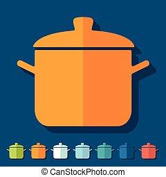 Flat design: saucepan