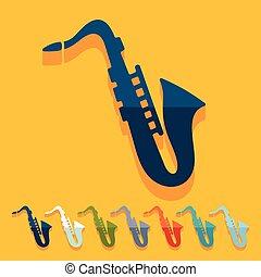 Flat design: saxophone