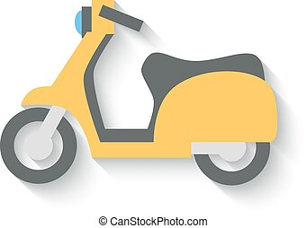 Flat Design Scooter Isolated on white Background. Vector