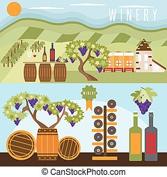 flat design set of landscape with winery , vineyard ,...