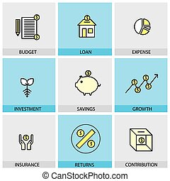 Flat design set of vector line icons of budget loan expense inve