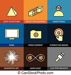 Flat design set of vector line icons of virtual reality live per