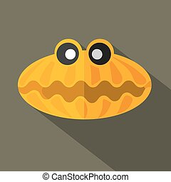 Flat Design Shell Icon Vector Illustration