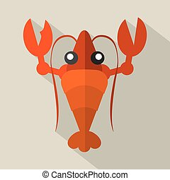 Flat Design Shrimp Icon Vector Illustration