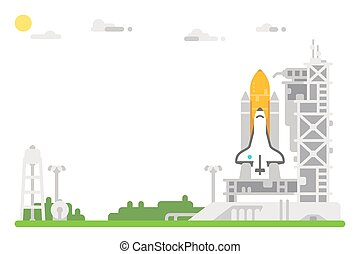 Flat design shuttle launch site
