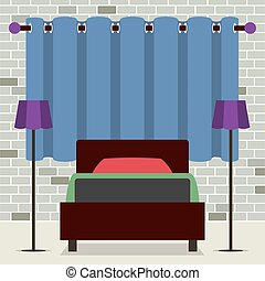 Flat Design Single Bed With Lamps.