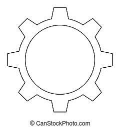 single gear icon - flat design single gear icon vector...