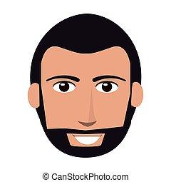 single man with facial hair icon - flat design single man...