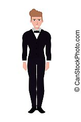 single man with suit and bowtie icon