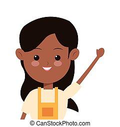 single woman wearing apron icon - flat design single woman...