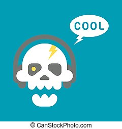 Flat design skull with headphones