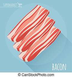 Flat design sliced bacon with long shadow. - Flat design ...