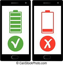 flat design, Smart phone charged battery