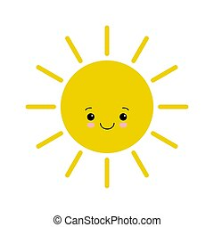 Flat design smiling cartoon sun isolated on white background.