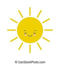 Flat design smiling cartoon sun isolated on white background. Kawaii illustration