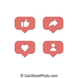 Flat design social network rating icons