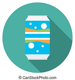 Flat design soda can icon