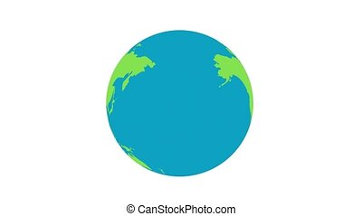 Flat design spinning Earth isolated on black. Animation of planet Earth. Flat design