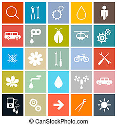 Flat Design Square Vector Icons Set