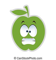stressed apple cartoon icon