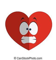 stressed heart cartoon icon
