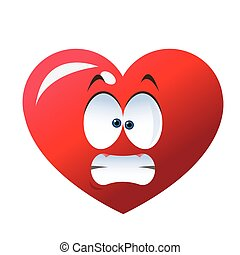 stressed heart cartoon icon - flat design stressed heart ...