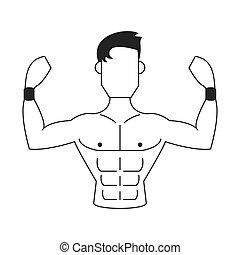 strong man icon - flat design strong man icon vector...