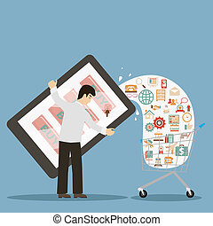 flat design style businessman holding mobile device buy online ecommerce retro colors icons concept illustration vector