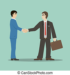 flat design style businessmans shaking hands signing an important deal leading to success vector
